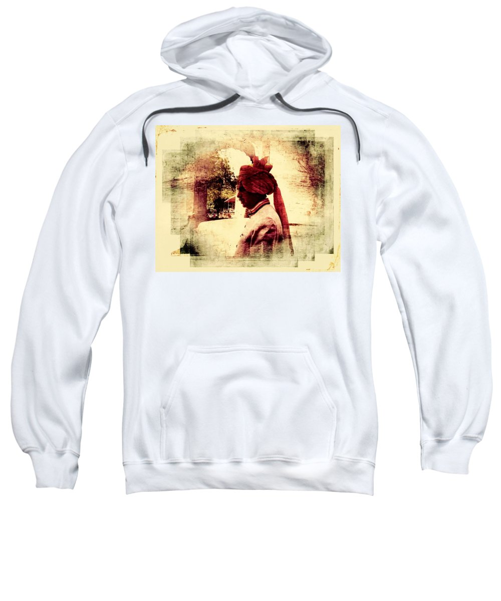 Travel Photography Sweatshirt featuring the photograph Travel Exotic Headgear Waiter Portrait Mehrangarh Fort India Rajasthan 2a by Sue Jacobi