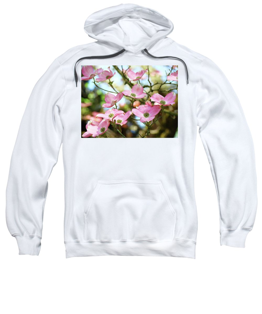 Nature Sweatshirt featuring the photograph Tree Landscape Pink Dogwood Flowers Baslee Troutman by Baslee Troutman