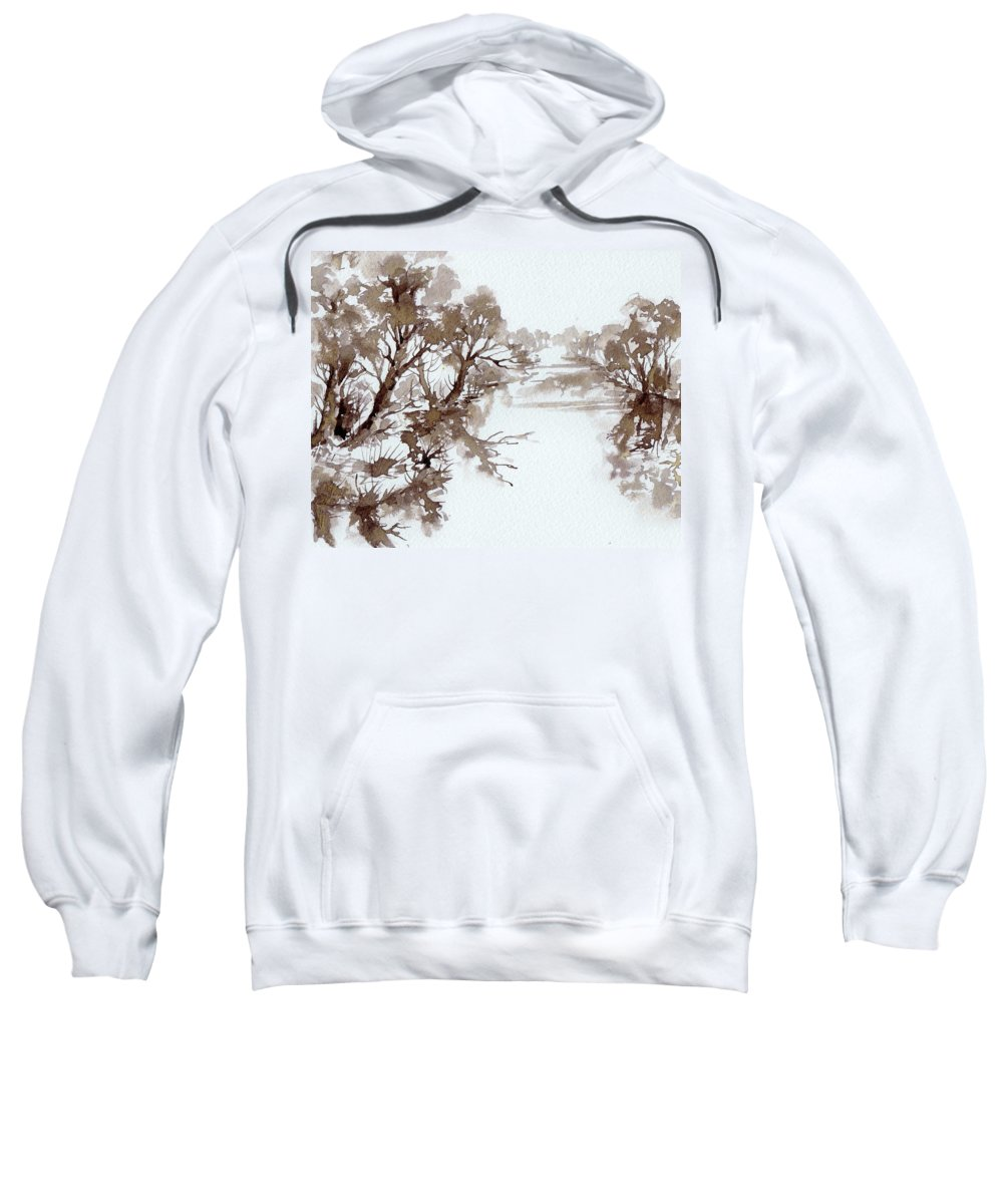Trees Sweatshirt featuring the painting Trees By A River by Angelina Whittaker Cook