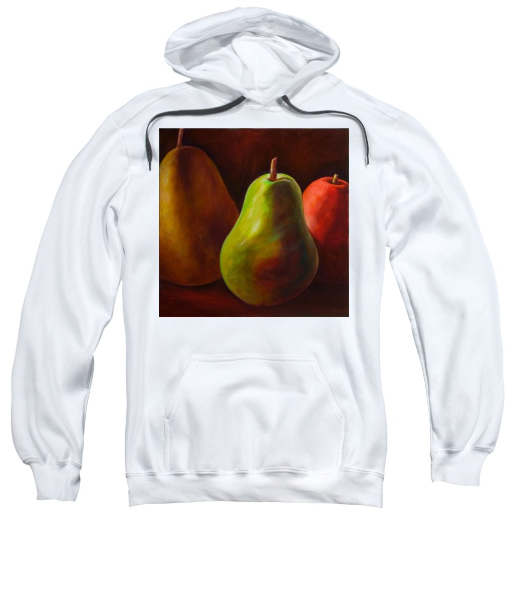 Fruit Sweatshirt featuring the painting Tri Pear by Shannon Grissom