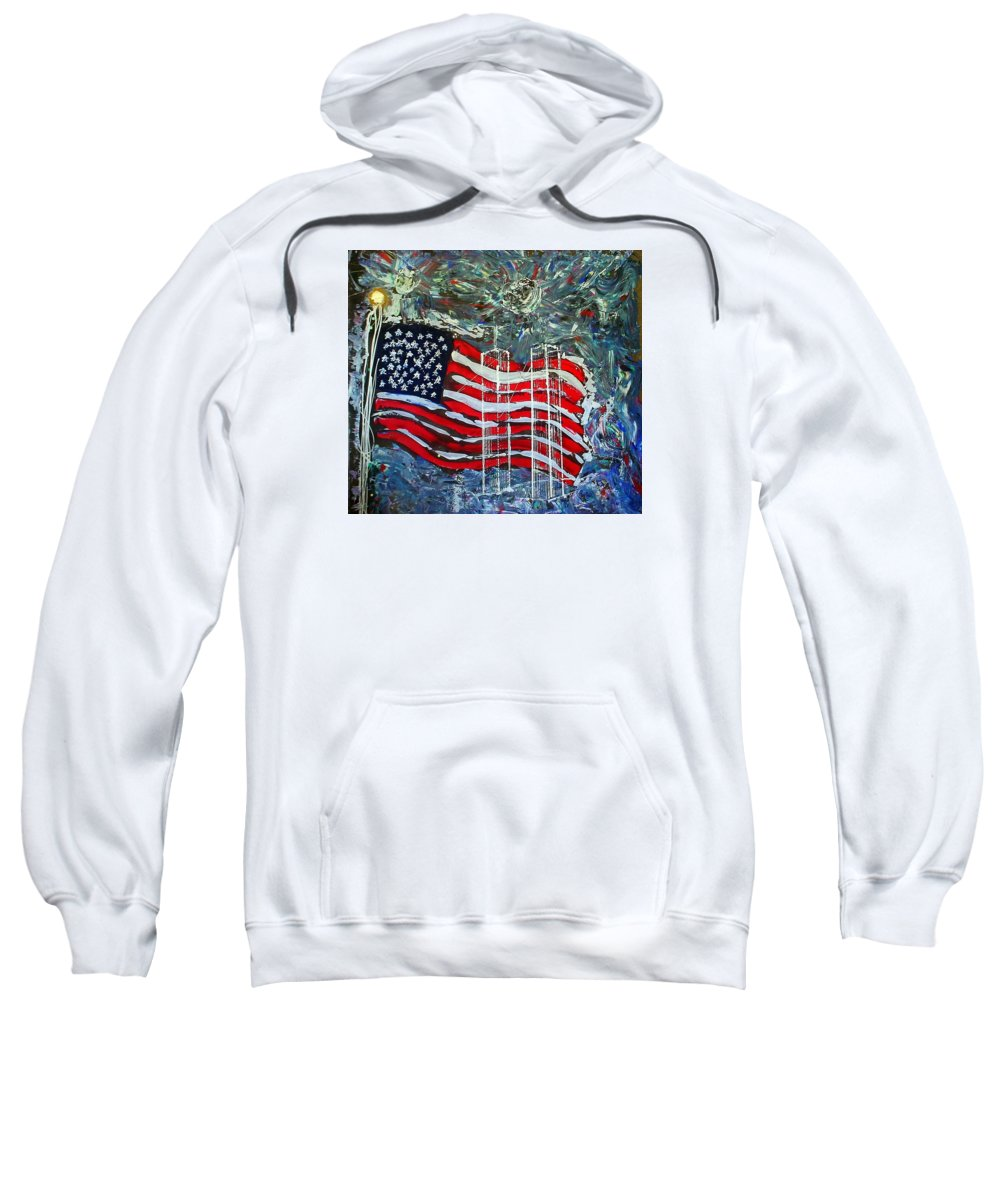 American Flag Sweatshirt featuring the mixed media Tribute by J R Seymour