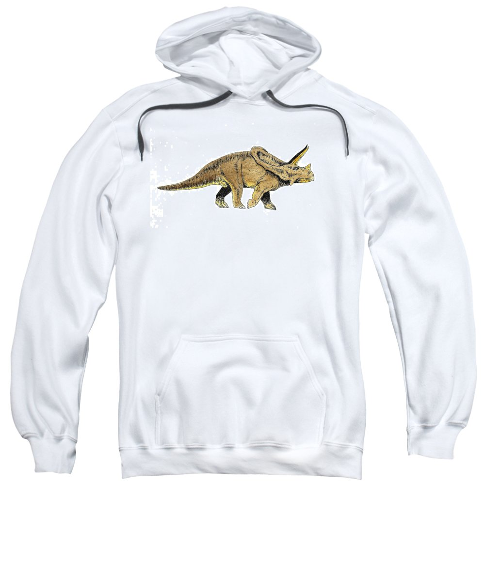 Dinosaur Sweatshirt featuring the painting Triceratops by Michael Vigliotti