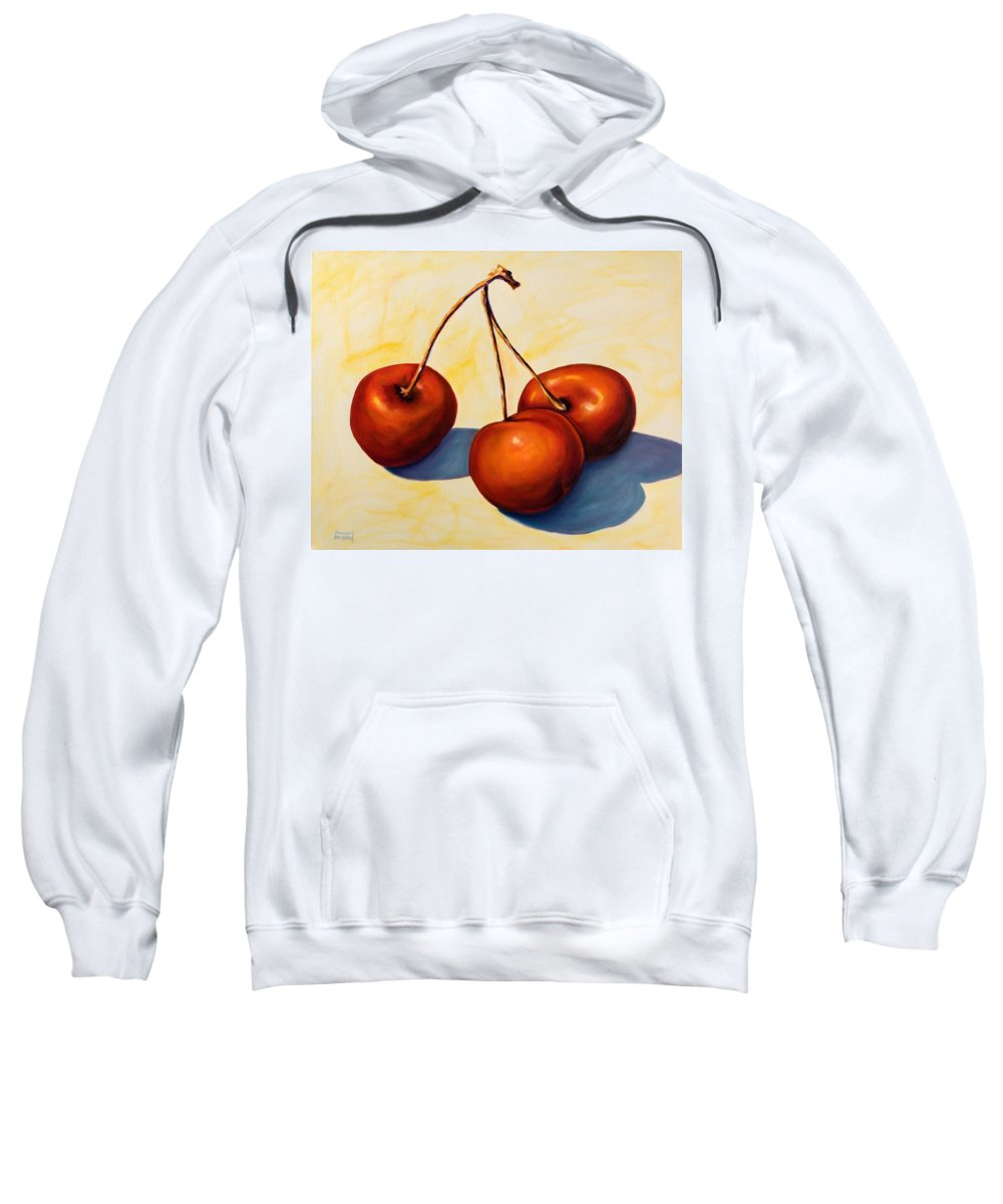 Cherries Sweatshirt featuring the painting Trilogy by Shannon Grissom