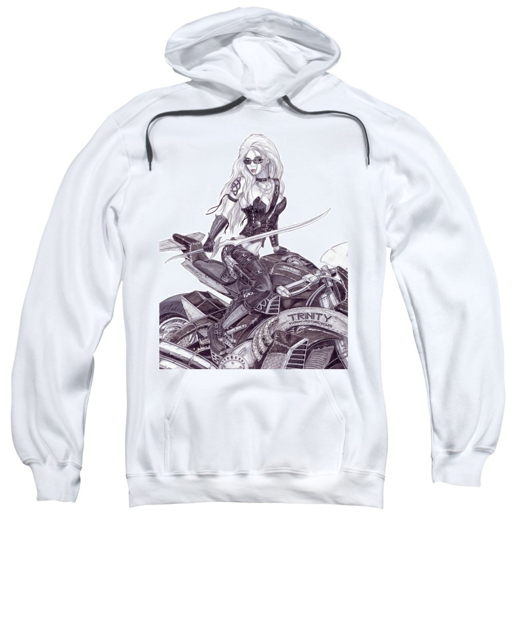 Femme Fatale Sweatshirt featuring the drawing Trinity by Kristopher VonKaufman