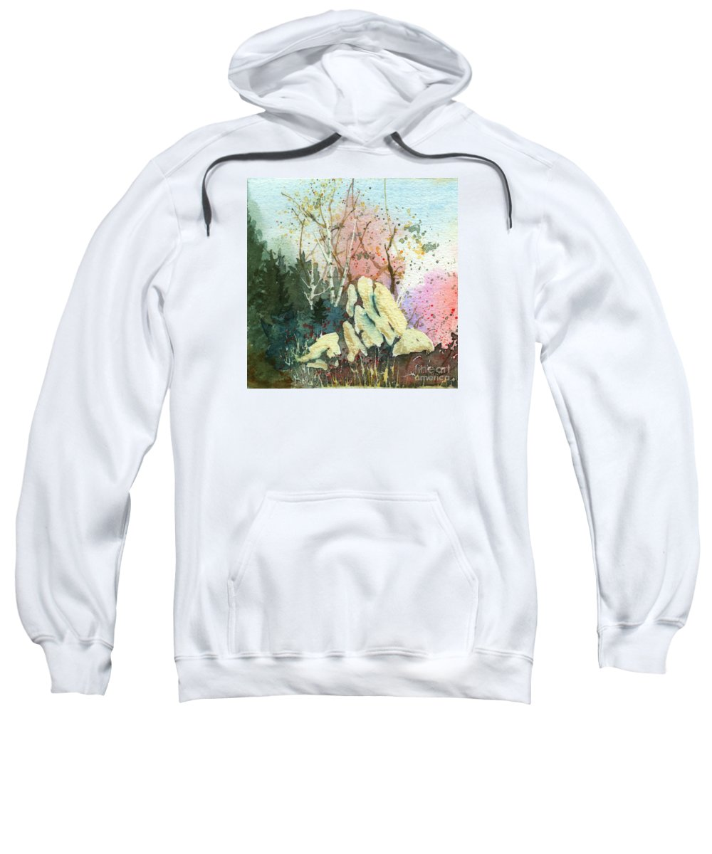 Landscape Sweatshirt featuring the painting Triptych Panel 1 by Lynn Quinn