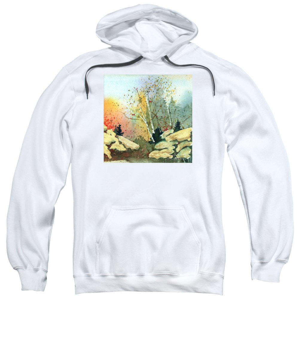 Landscape Sweatshirt featuring the painting Triptych Panel 3 by Lynn Quinn