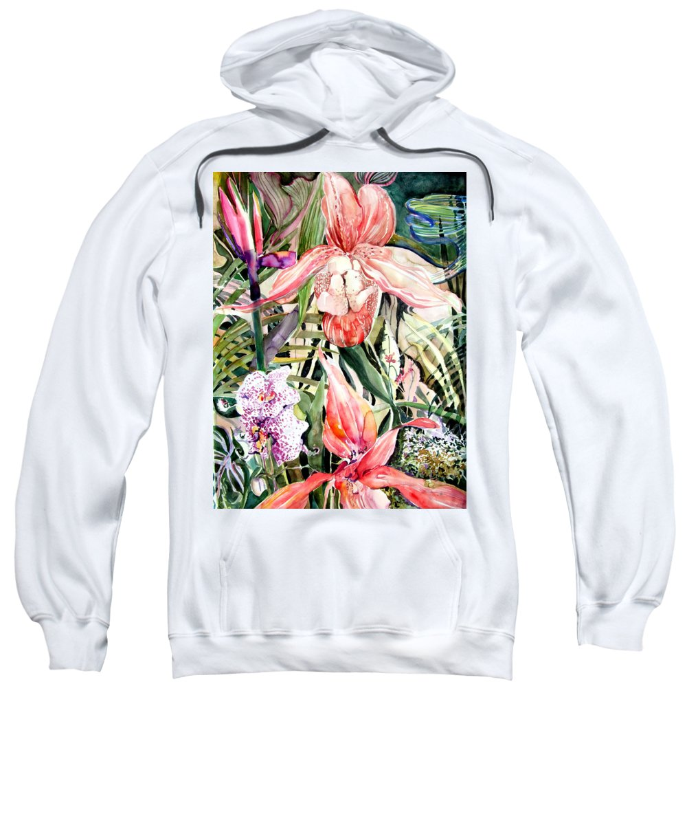 Watercolor Sweatshirt featuring the painting Tropical Orchids by Mindy Newman