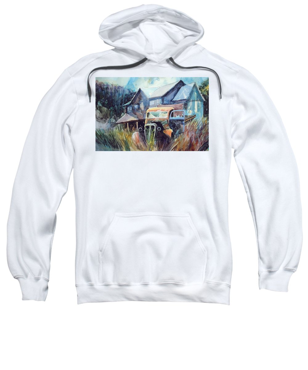 House Truck Grass Sweatshirt featuring the painting Truck In The Tall Grass by Ron Morrison