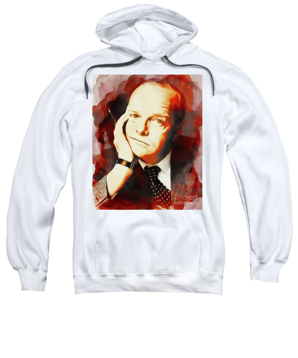 Truman Sweatshirt featuring the painting Truman Capote, Literary Legend by John Springfield