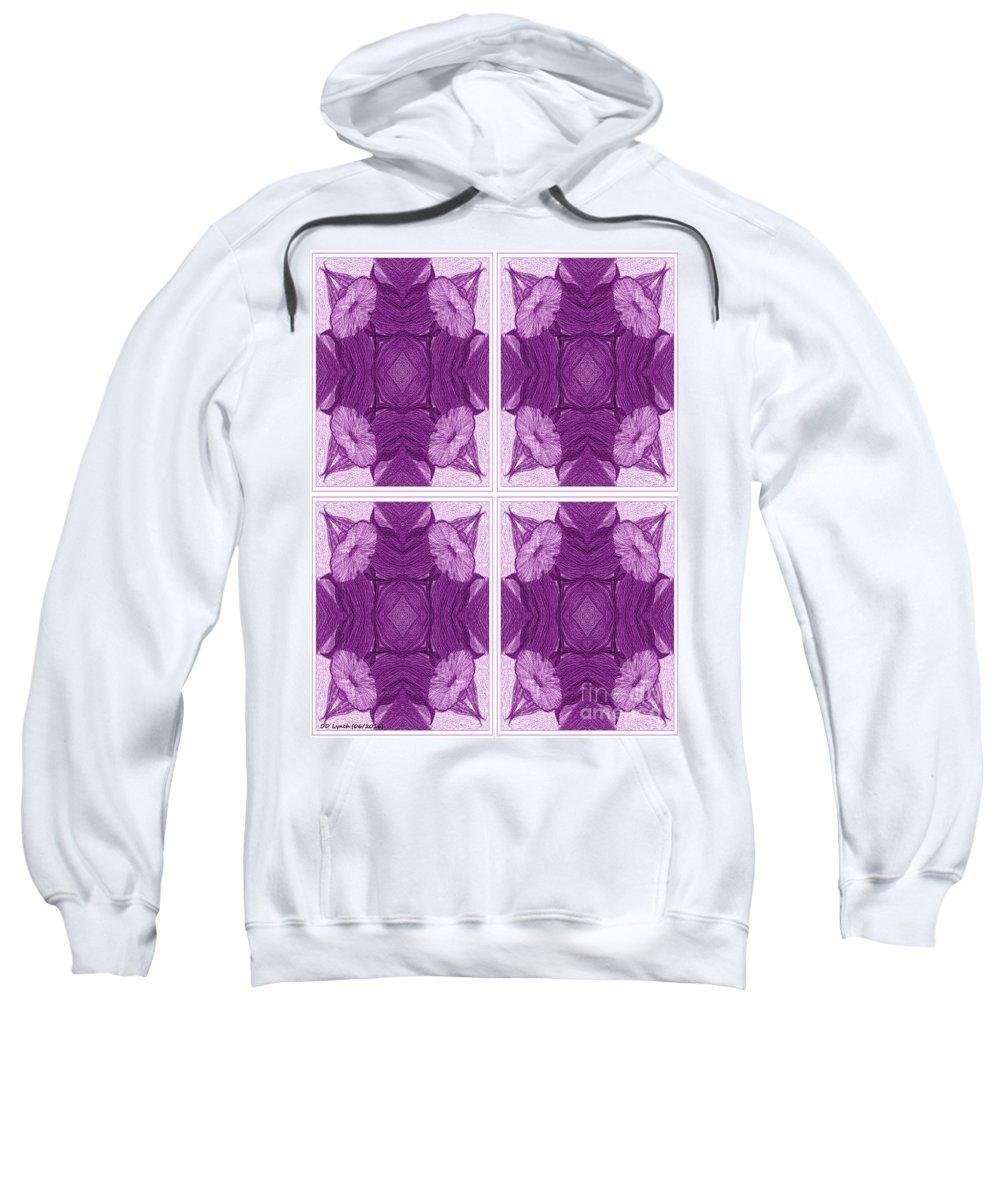 Purple/rose Sweatshirt featuring the digital art Trumpet Flowers In Abstract by Debra Lynch