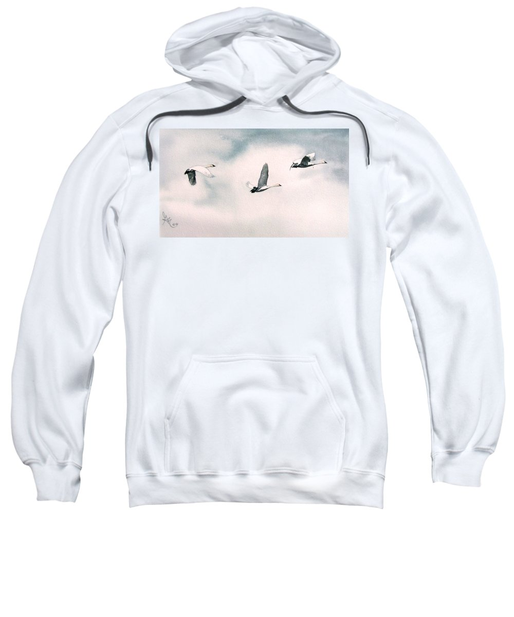 Swans Sweatshirt featuring the painting Trumpeters by Gale Cochran-Smith