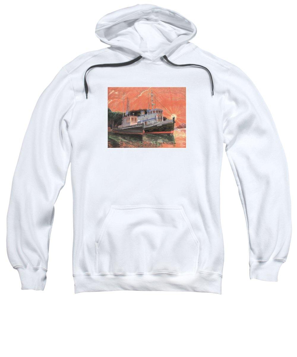 Tug Boats Anchored In Red Sky Sweatshirt featuring the painting Tug Boats Anchored In Red Sky by Jack Pumphrey