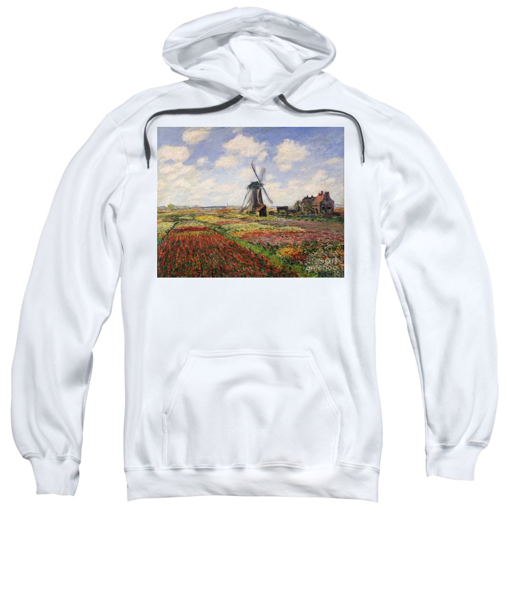Claude Monet Sweatshirt featuring the painting Tulip Fields With The Rijnsburg Windmill by Claude Monet