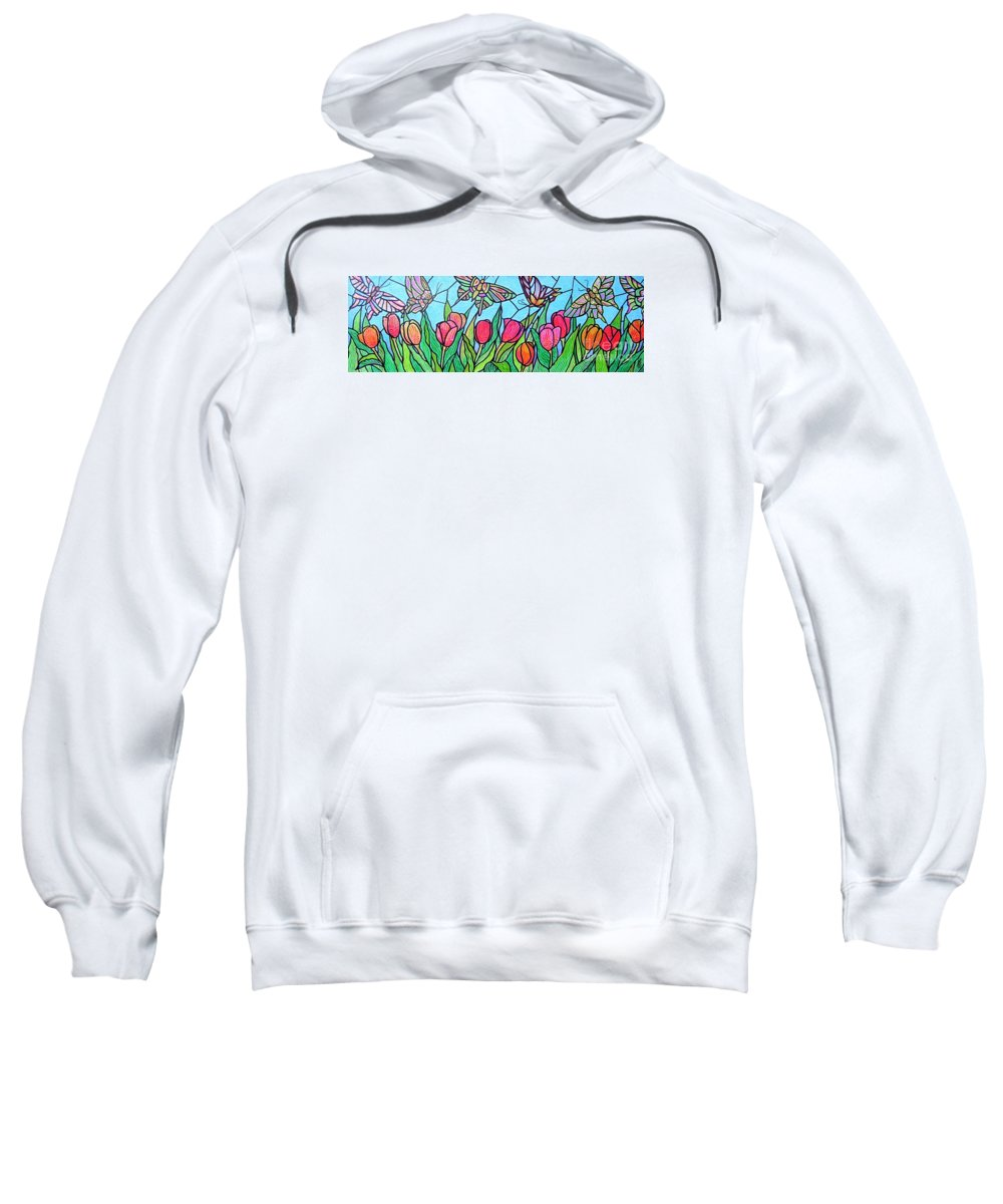 Spring Sweatshirt featuring the painting Tulips And Butterflies by Jim Harris