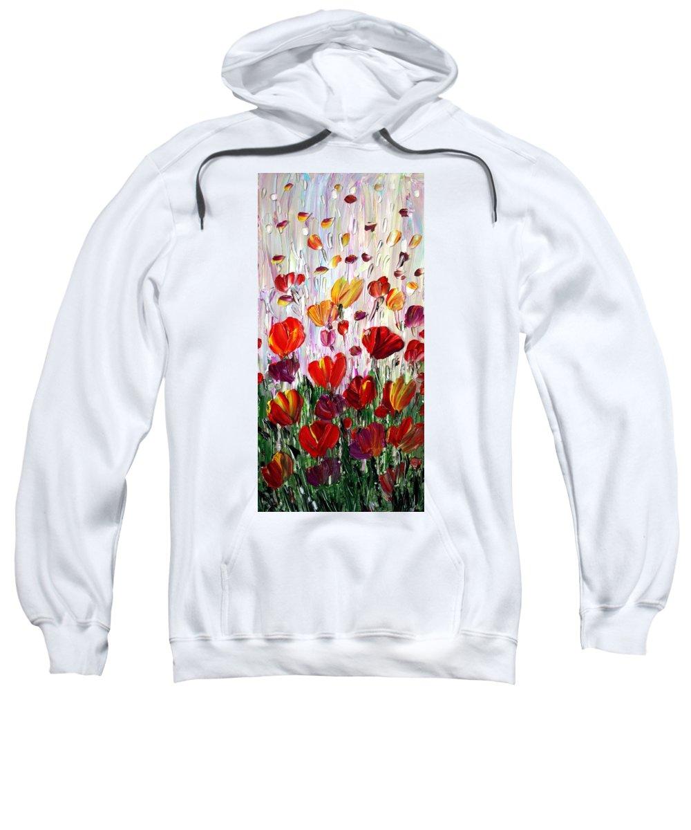Flowers Sweatshirt featuring the painting Tulips Flowers Garden Seria by Luiza Vizoli