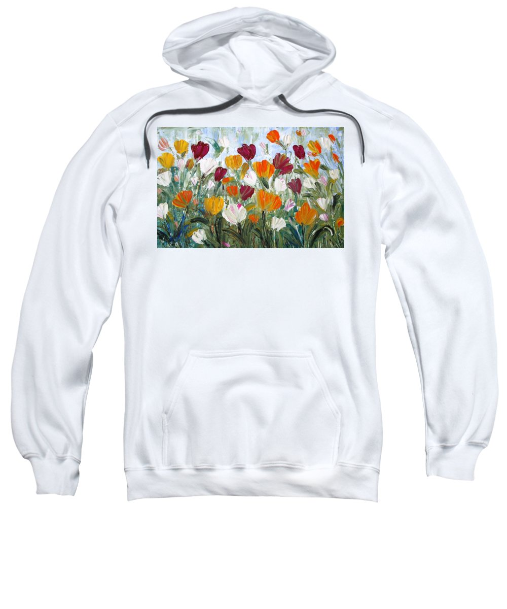 Oil Sweatshirt featuring the painting Tulips Garden by Luiza Vizoli