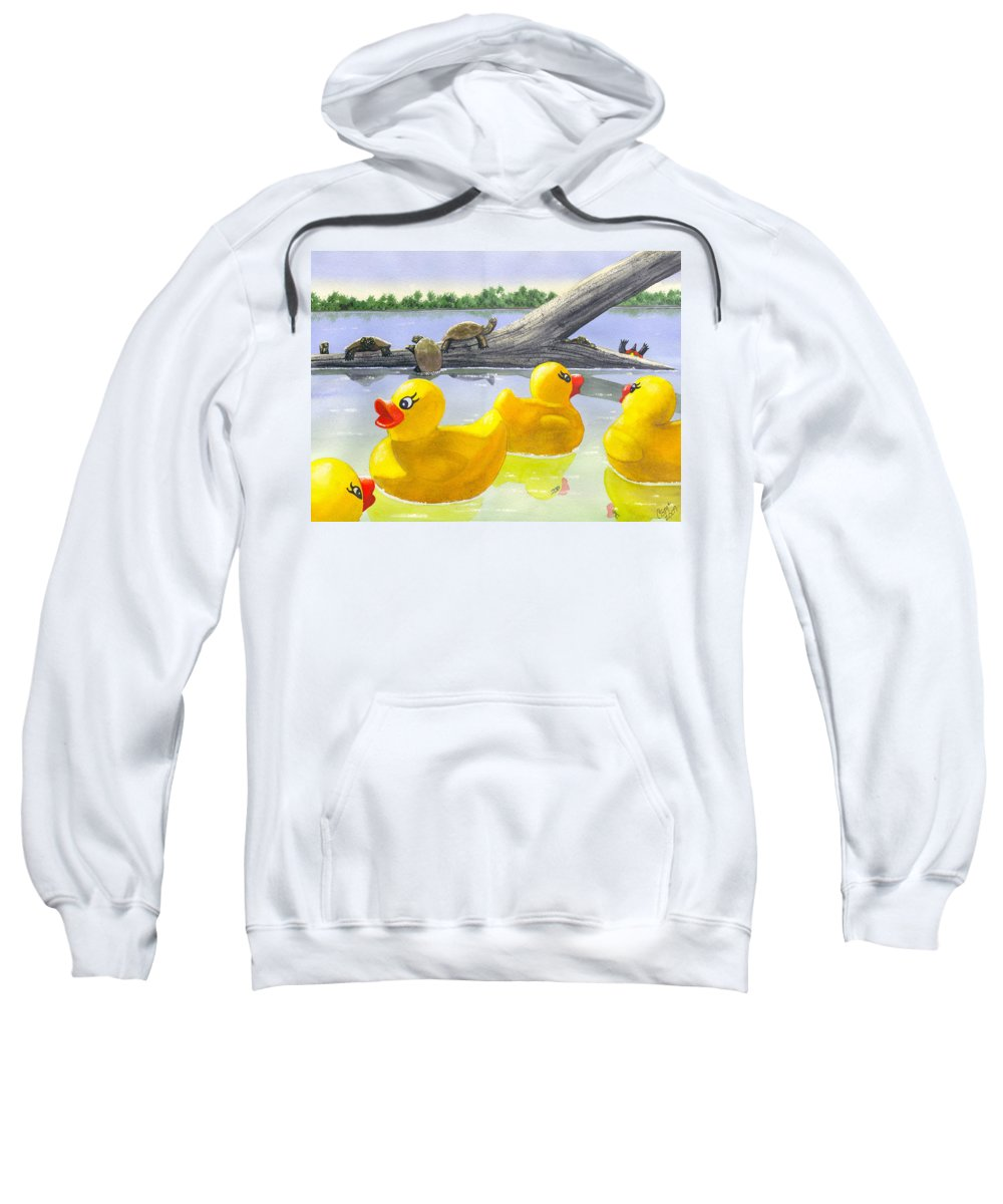 Rubber Ducky Sweatshirt featuring the painting Turtle Log by Catherine G McElroy