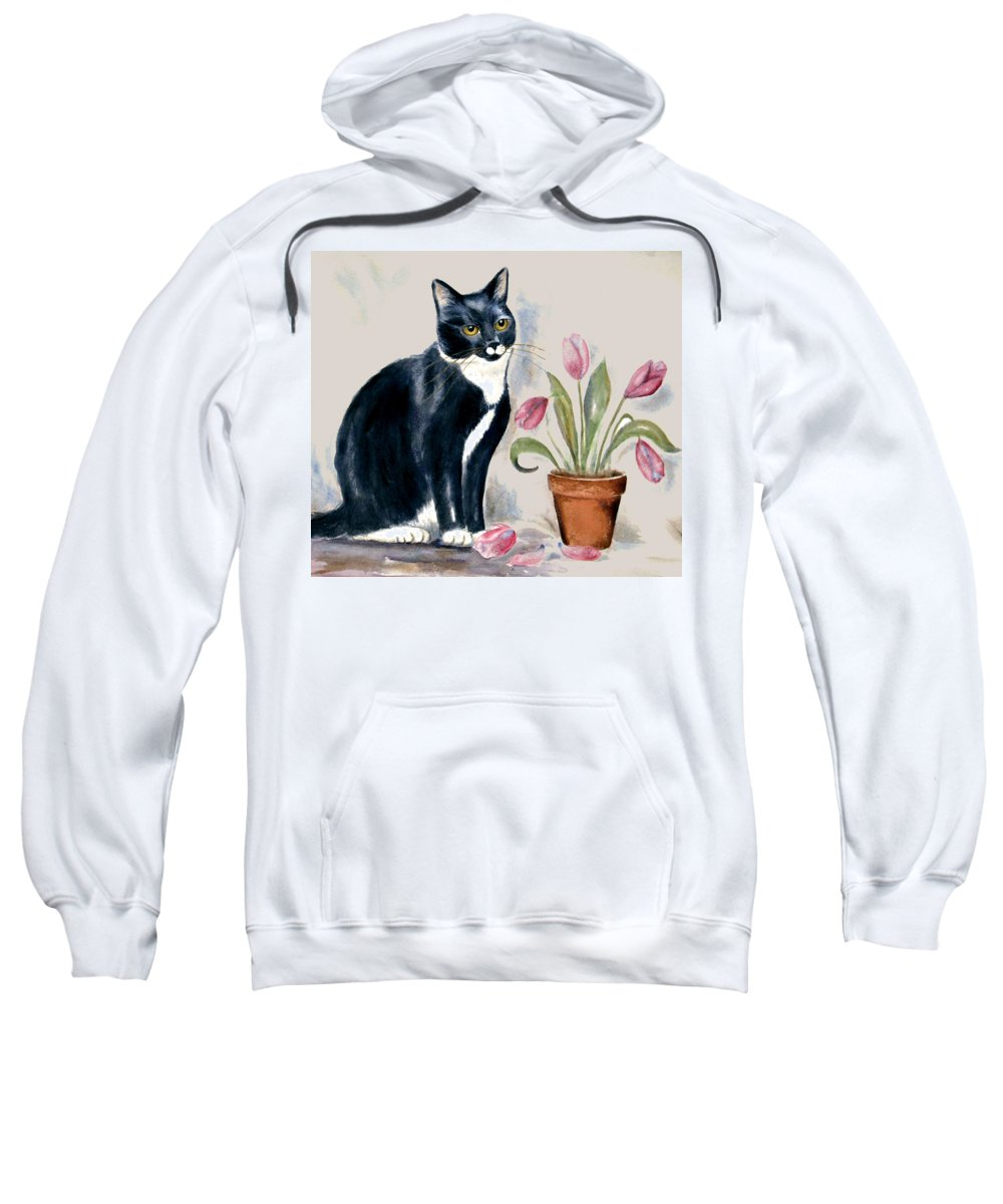 Cat Sweatshirt featuring the painting Tuxedo Cat Sitting By The Pink Tulips by Frances Gillotti