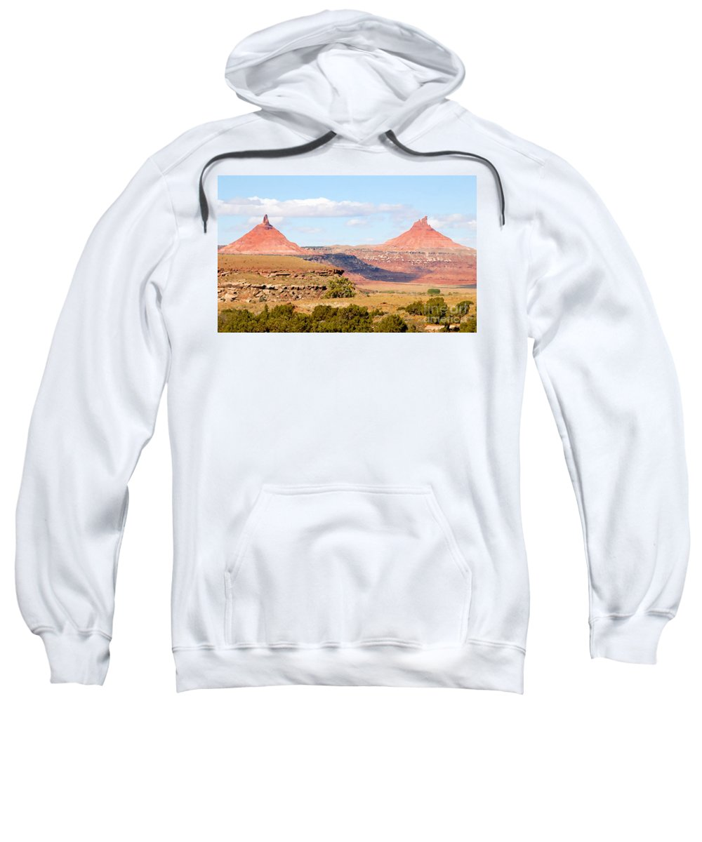 Twin Buttes Sweatshirt featuring the photograph Twin Buttes by David Lee Thompson