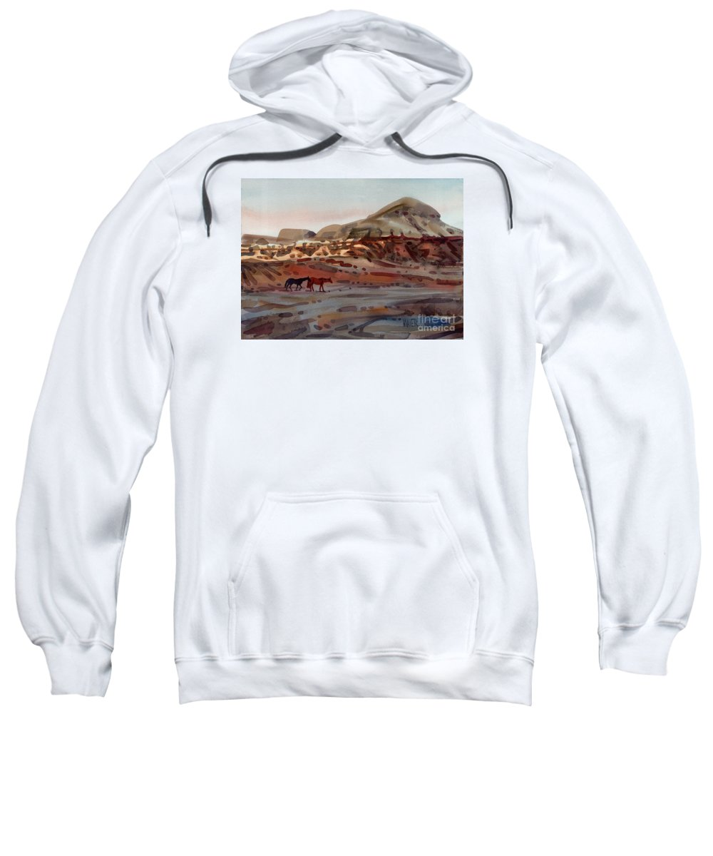 Horses Sweatshirt featuring the painting Two Horses In The Arroyo by Donald Maier