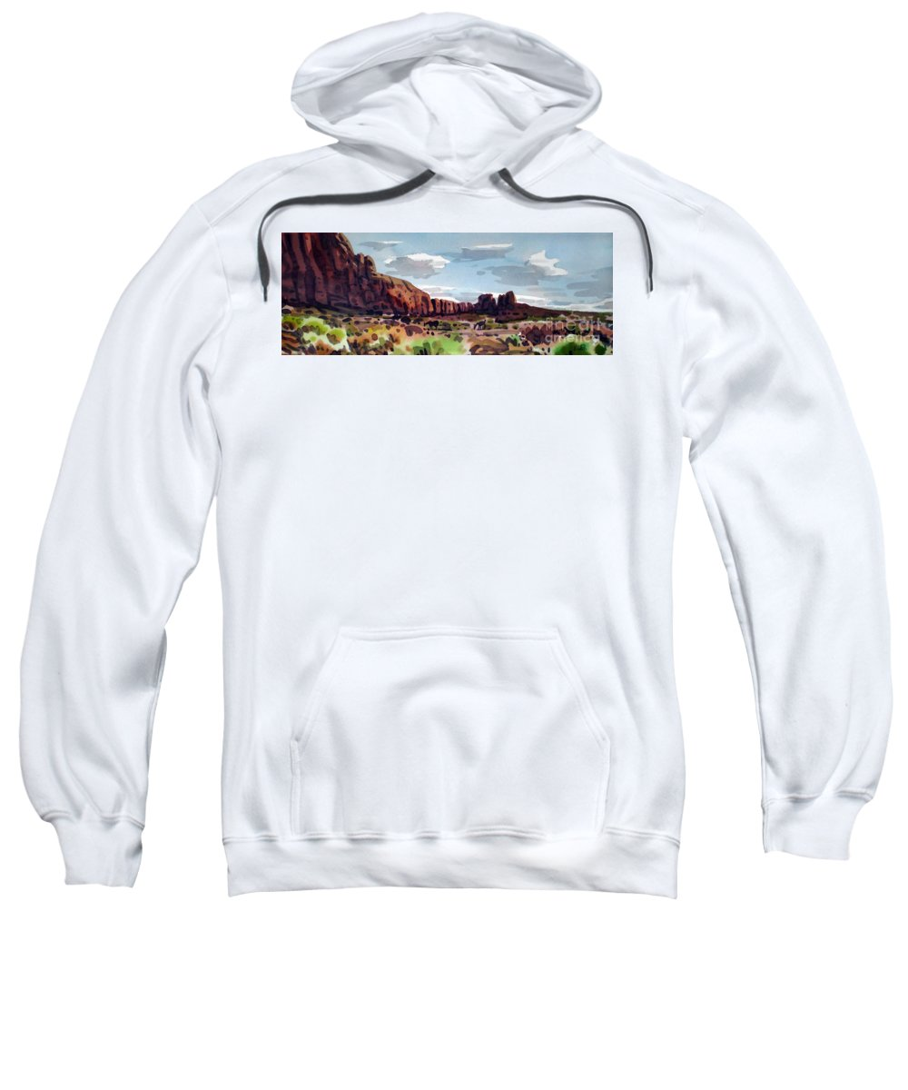 Horses Sweatshirt featuring the painting Two Mustangs by Donald Maier