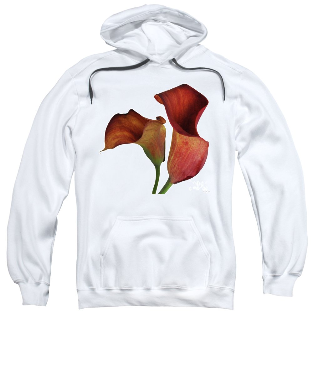 Rust Sweatshirt featuring the photograph Two Rust Calla Lilies Square by Heather Kirk