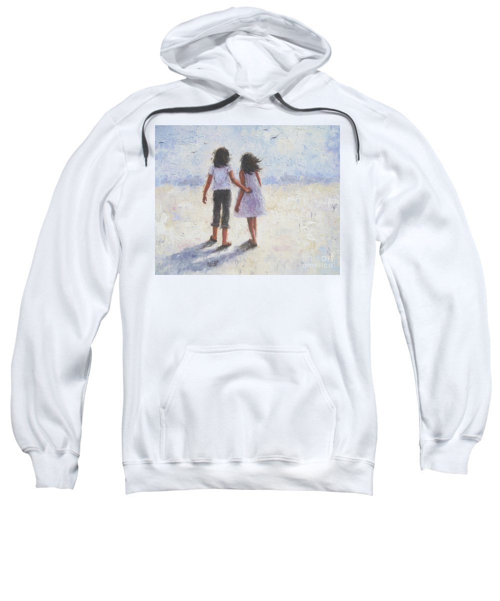 Two Sisters Sweatshirt featuring the painting Two Sisters Walking Beach by Vickie Wade