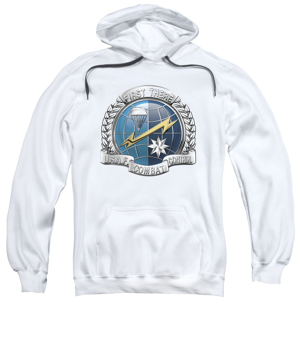 'military Insignia & Heraldry' Collection By Serge Averbukh Sweatshirt featuring the digital art U. S. Air Force Combat Control Teams - Combat Controller C C T Badge Over White Leather by Serge Averbukh