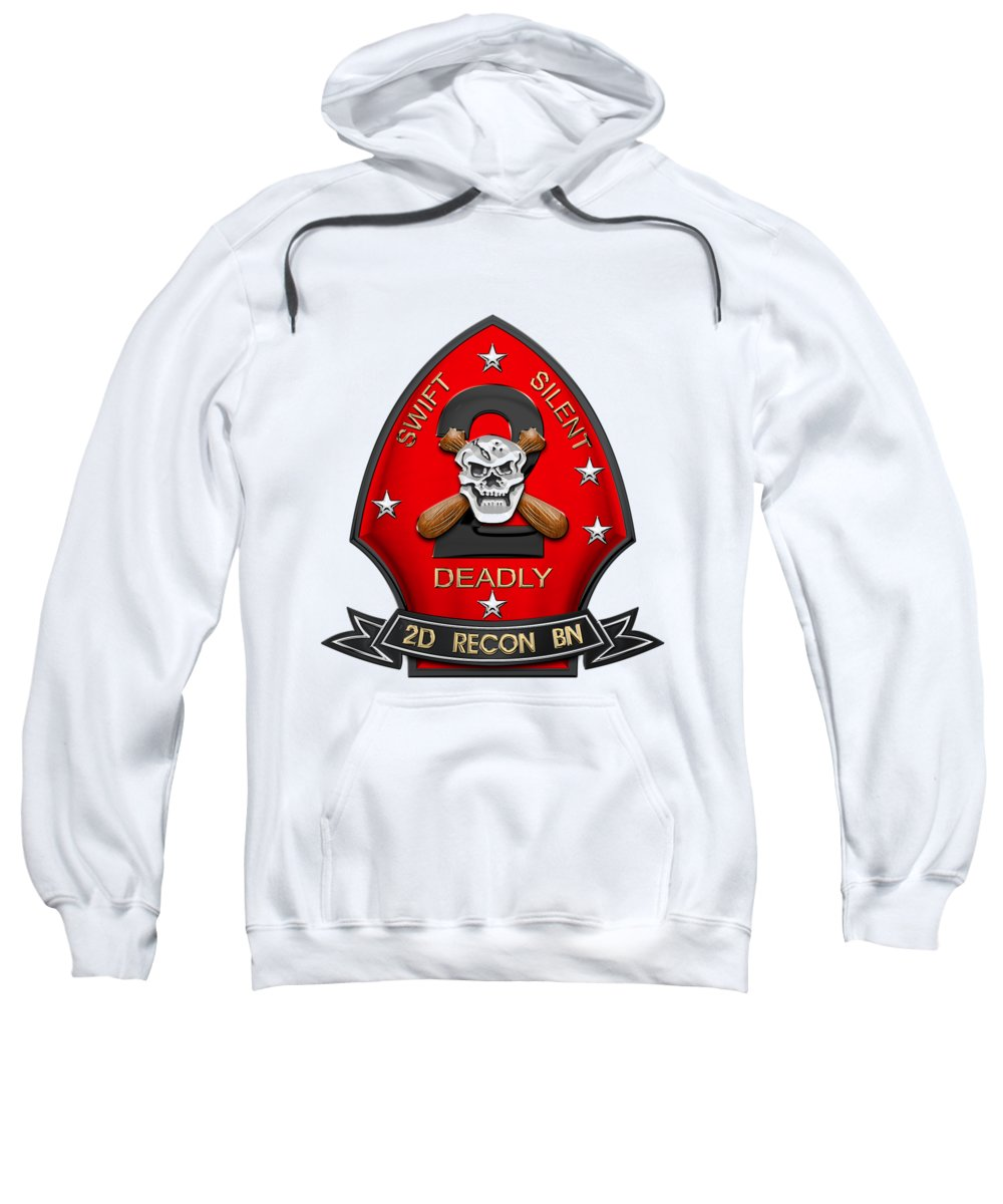 'military Insignia & Heraldry' Collection By Serge Averbukh Sweatshirt featuring the digital art U S M C 2nd Reconnaissance Battalion - 2nd Recon Bn Insignia Over White Leather by Serge Averbukh