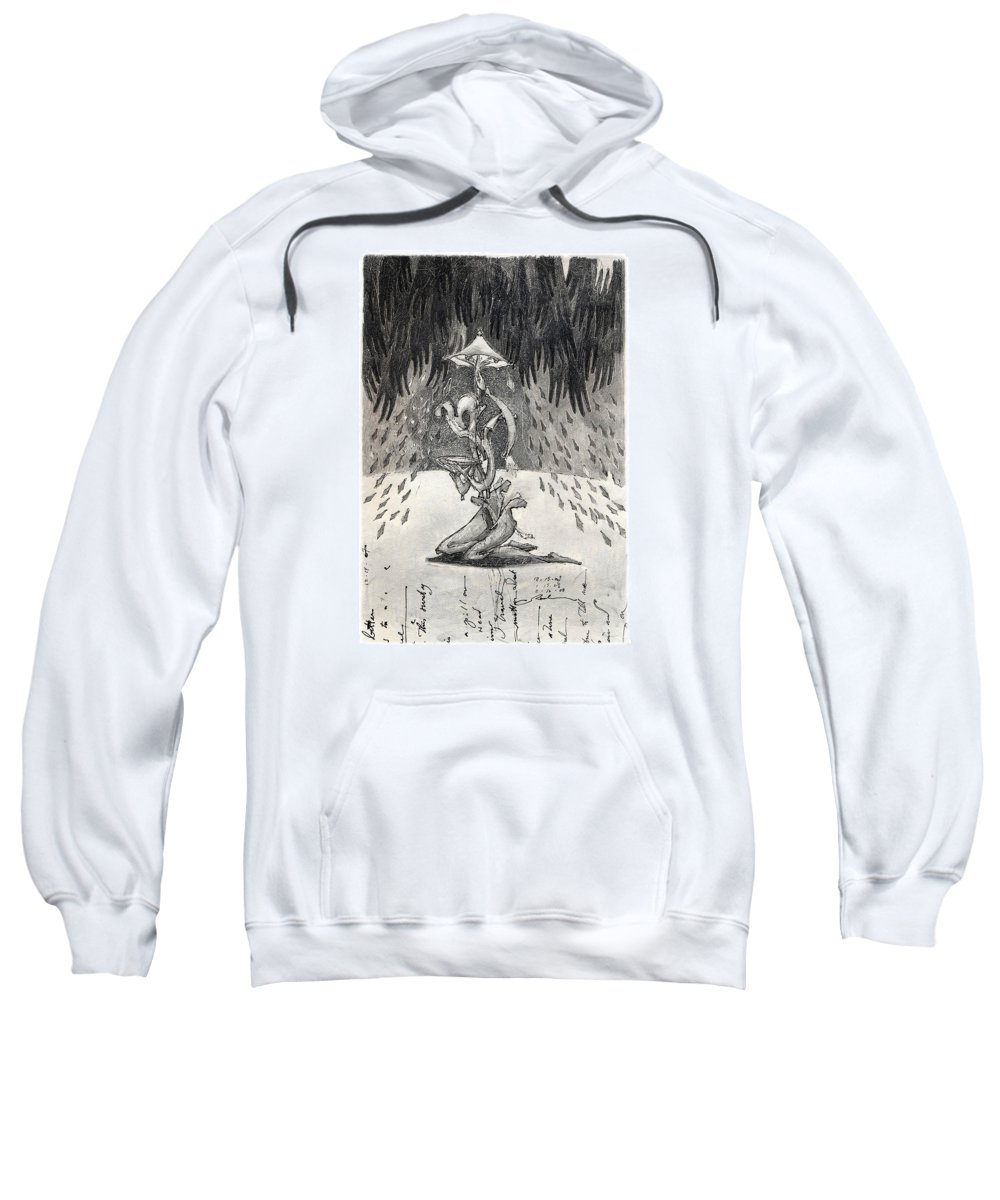 Umbrella Sweatshirt featuring the drawing Umbrella Moon by Juel Grant