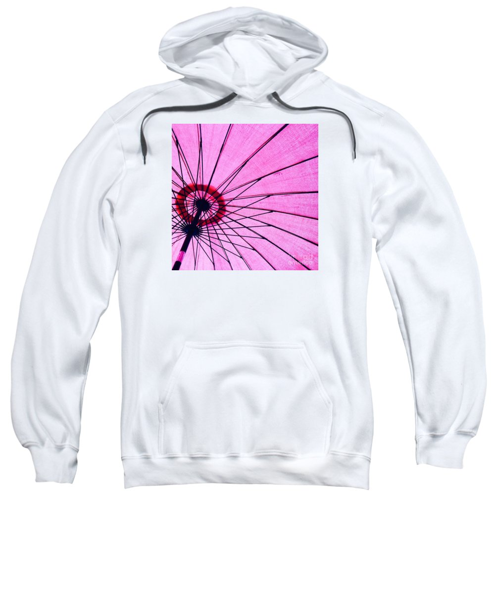 Pink Sweatshirt featuring the photograph Under The Pink Umbrella by Jenny Berg