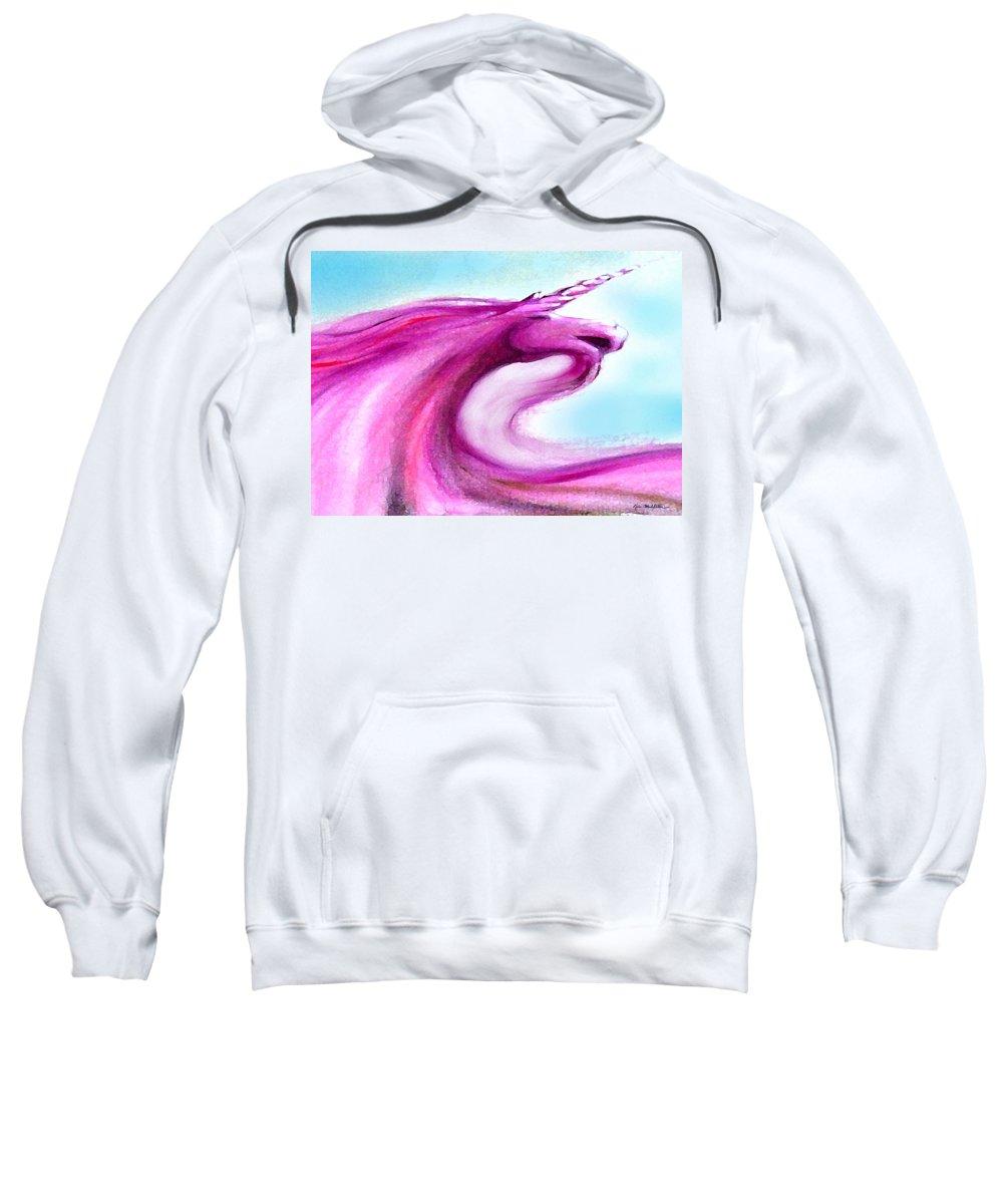 Unicorn Sweatshirt featuring the painting Unicorn by Kevin Middleton