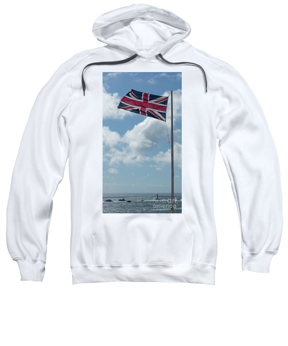 Union Sweatshirt featuring the photograph Union Jack Off Land's End by Philip Pound