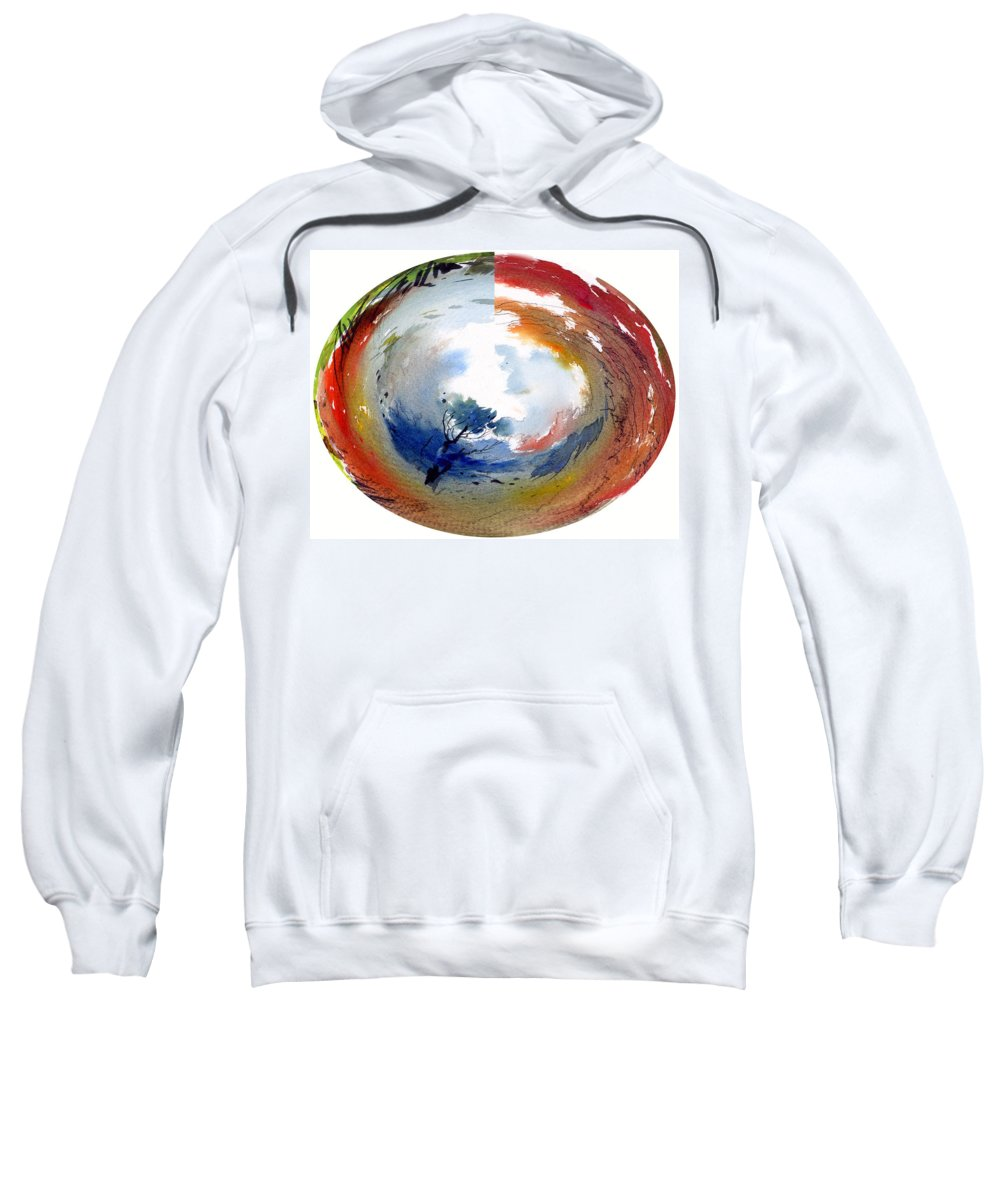 Landscape Water Color Watercolor Digital Mixed Media Sweatshirt featuring the painting Universe by Anil Nene