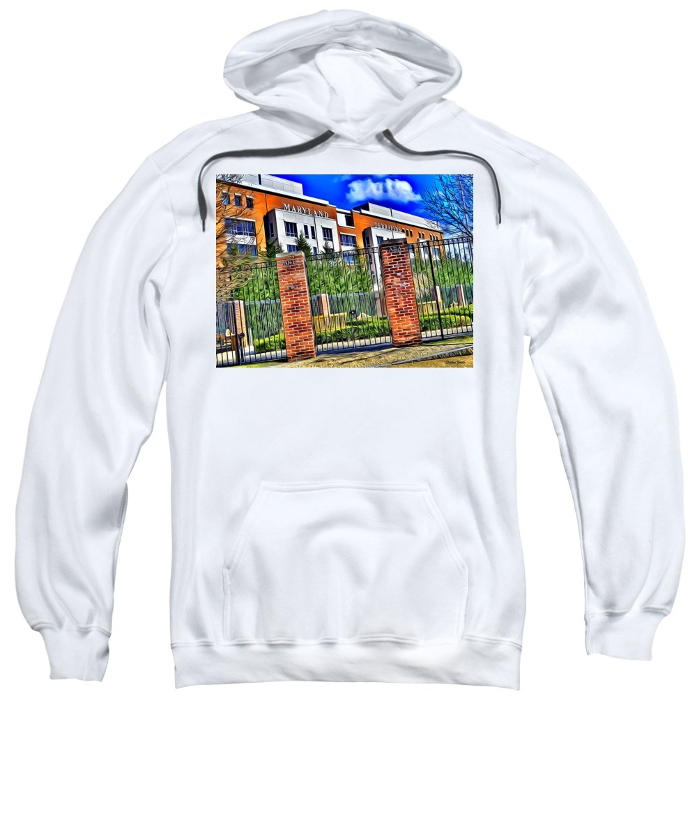University Sweatshirt featuring the digital art University Of Maryland - Byrd Stadium by Stephen Younts