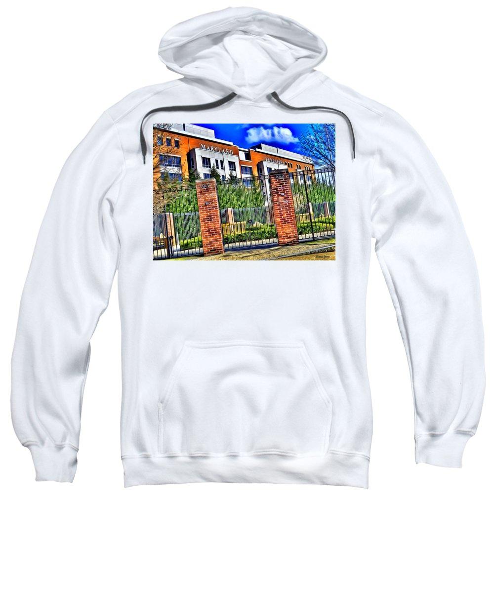 University Sweatshirt featuring the digital art University Of Maryland - Byrd Stadium by Stephen Younts