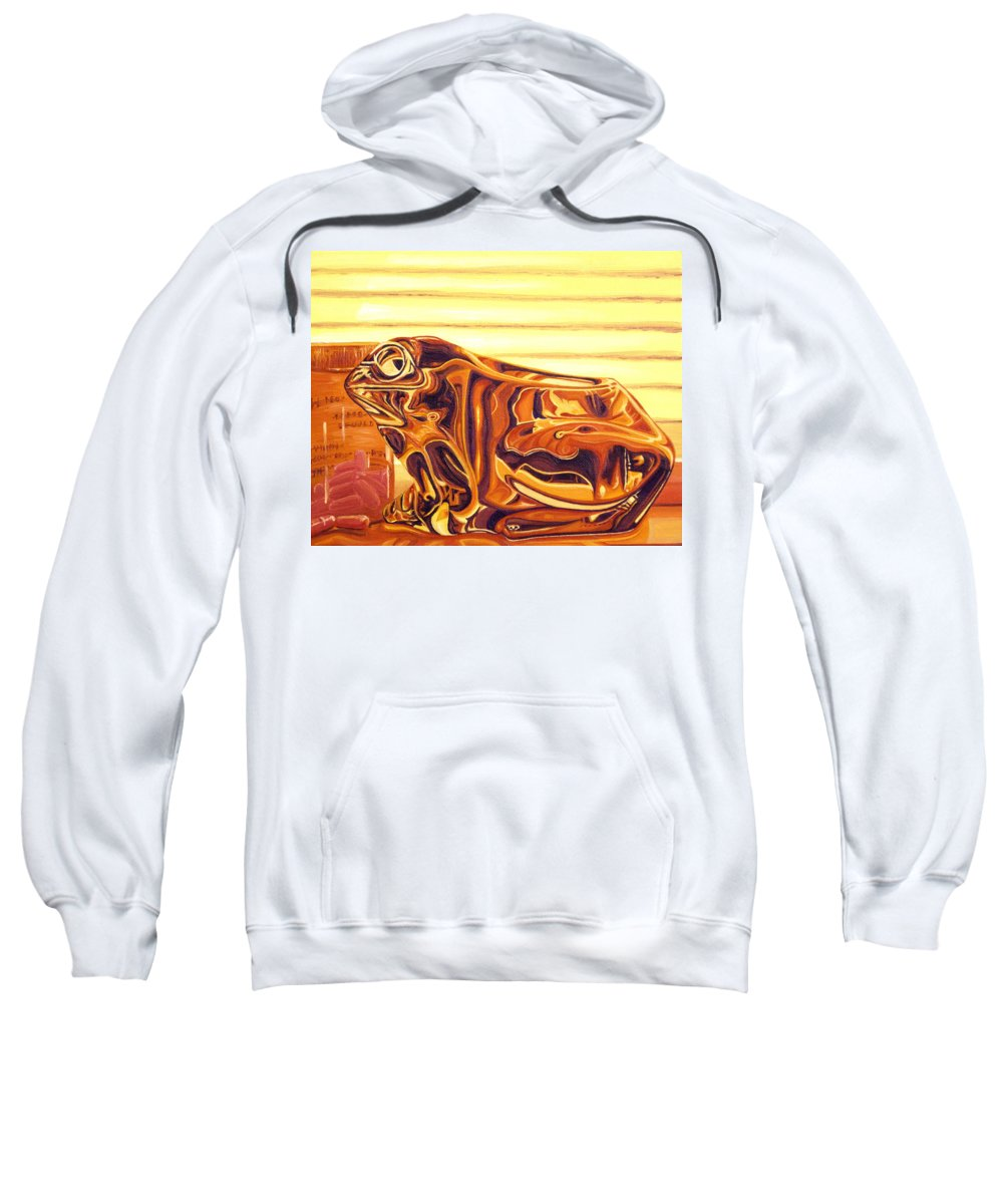 Frog Sweatshirt featuring the painting Untitled by Judy Henninger