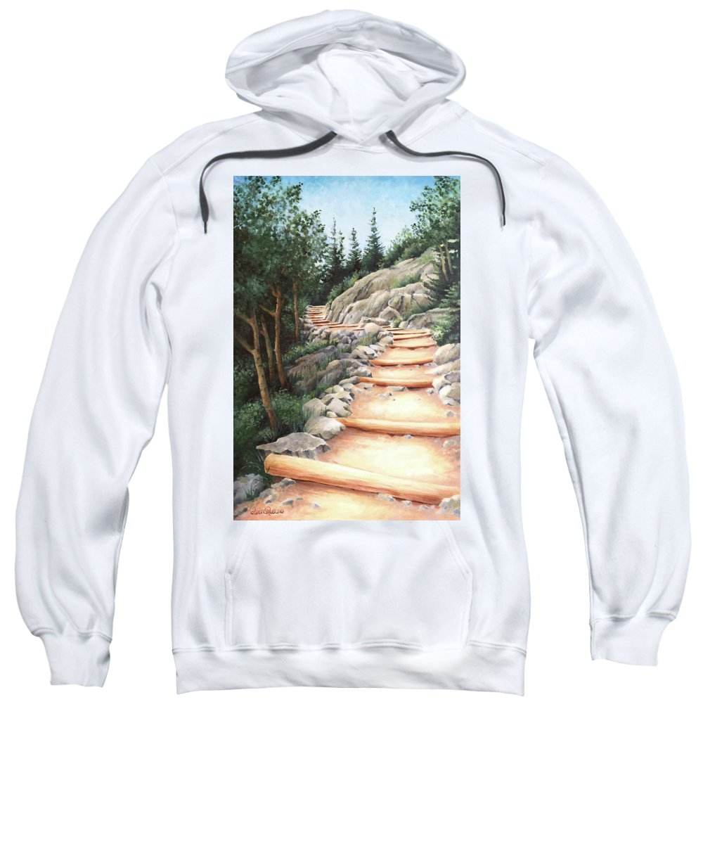 Landscape Sweatshirt featuring the painting Up the Mountain by Teri Rosario