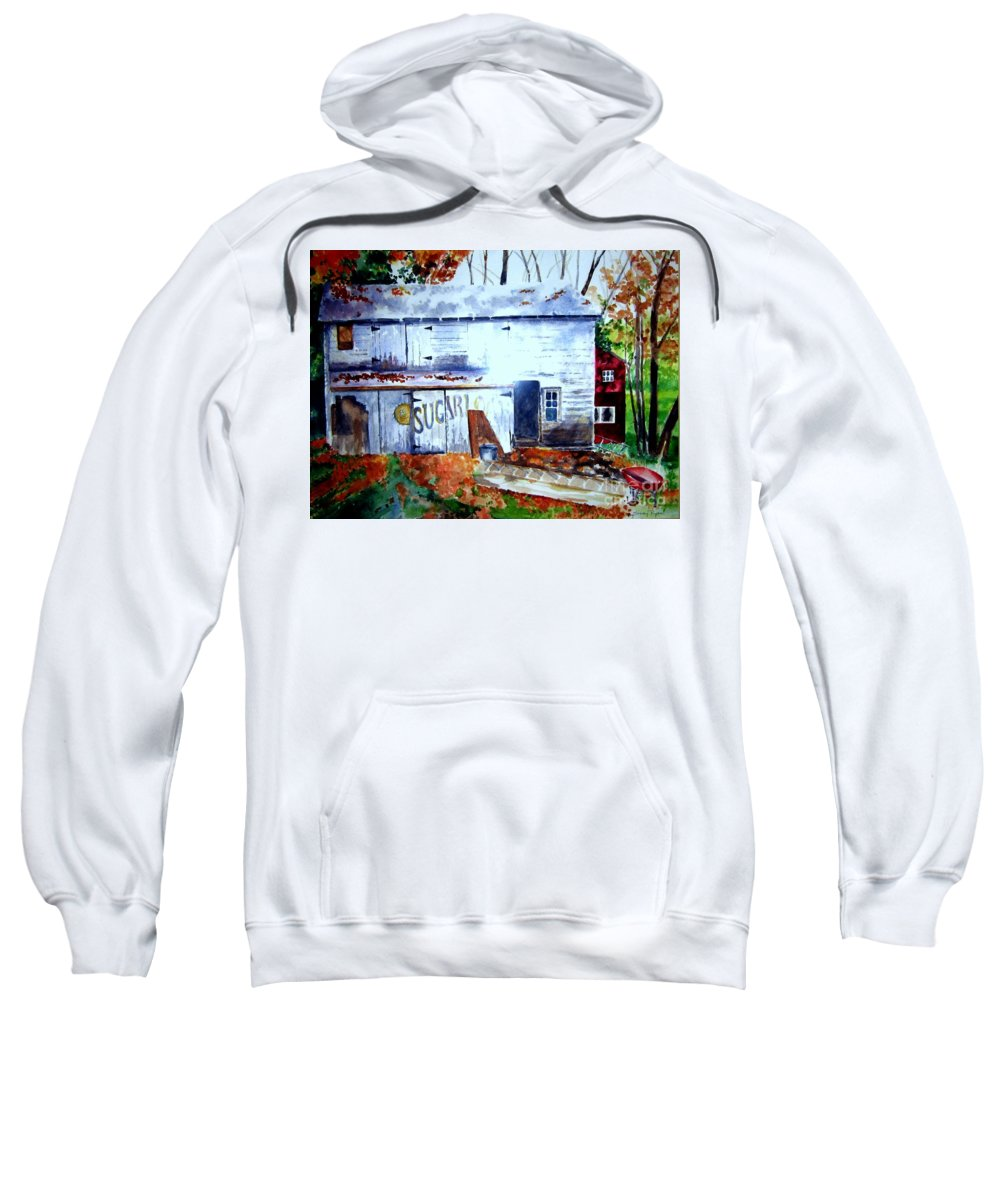 Autumn Sweatshirt featuring the painting Upstate Barn by Sandy Ryan