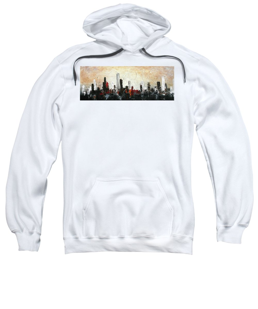 Cityscape Sweatshirt featuring the painting Urban Poetry by Germaine Fine Art