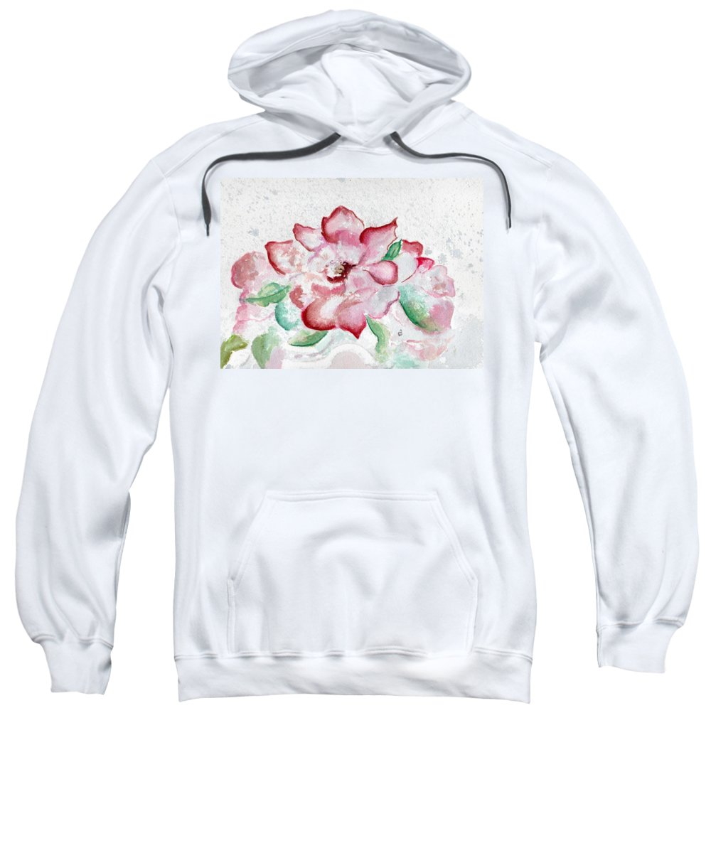 Watercolor Sweatshirt featuring the painting Valentine Rose by Brenda Owen