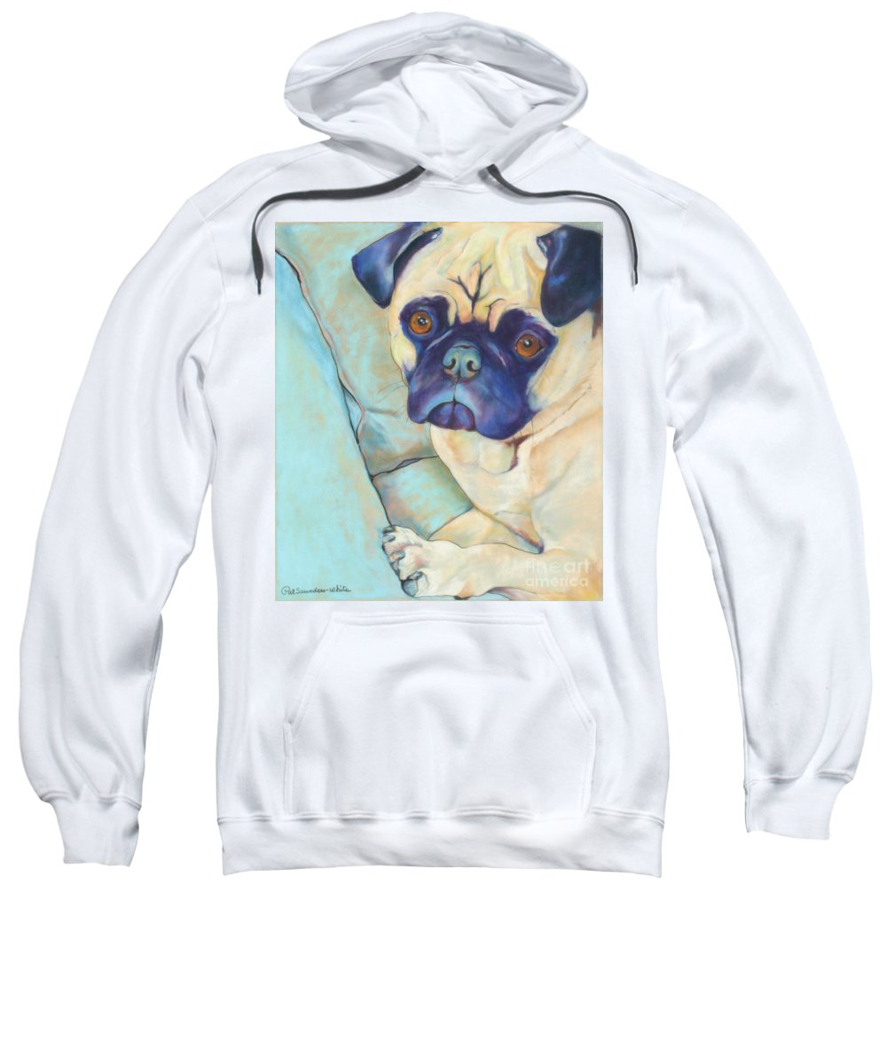 Pug Sweatshirt featuring the pastel Valentino by Pat Saunders-White