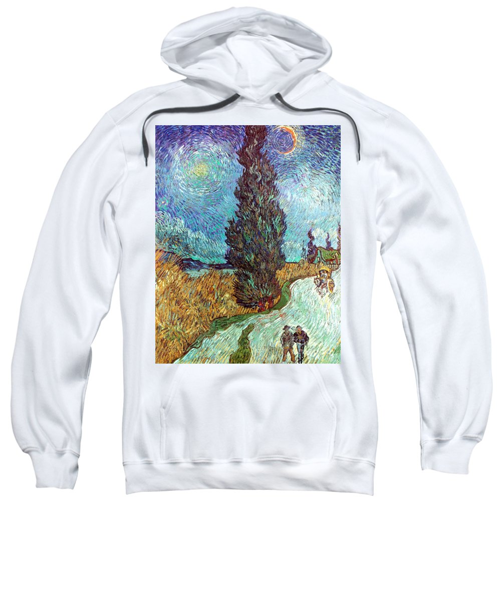1890 Sweatshirt featuring the photograph Van Gogh: Road, 1890 by Granger
