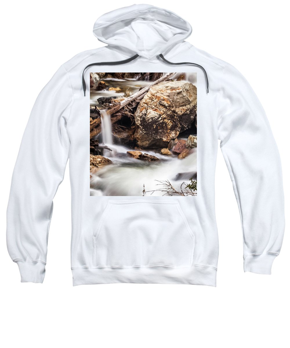 Streams Sweatshirt featuring the photograph Velvet Falls - Rocky Mountain Stream by Steven Milner