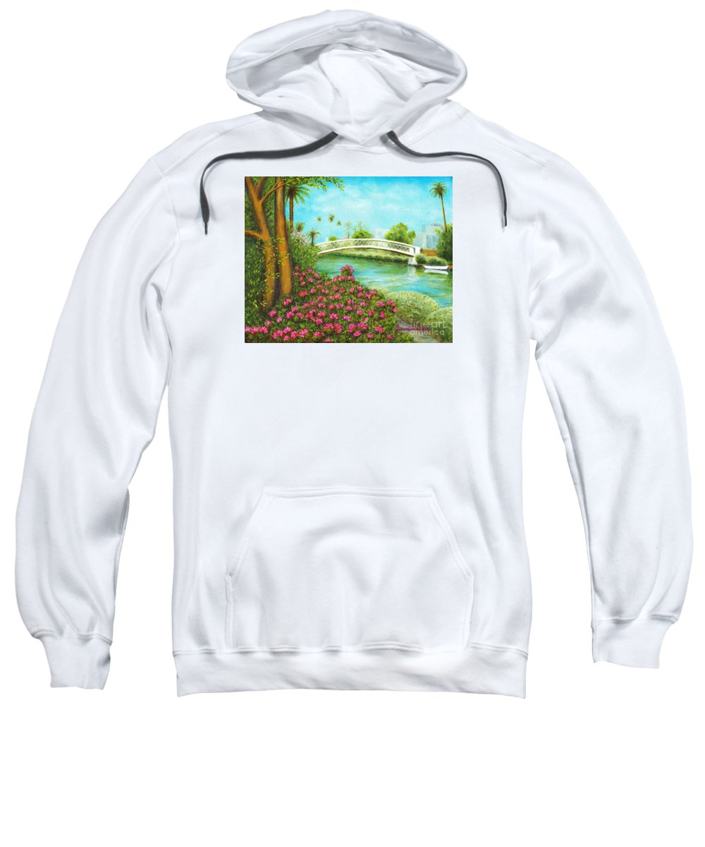 Venice Sweatshirt featuring the painting Venice Canals Springtime by Jerome Stumphauzer