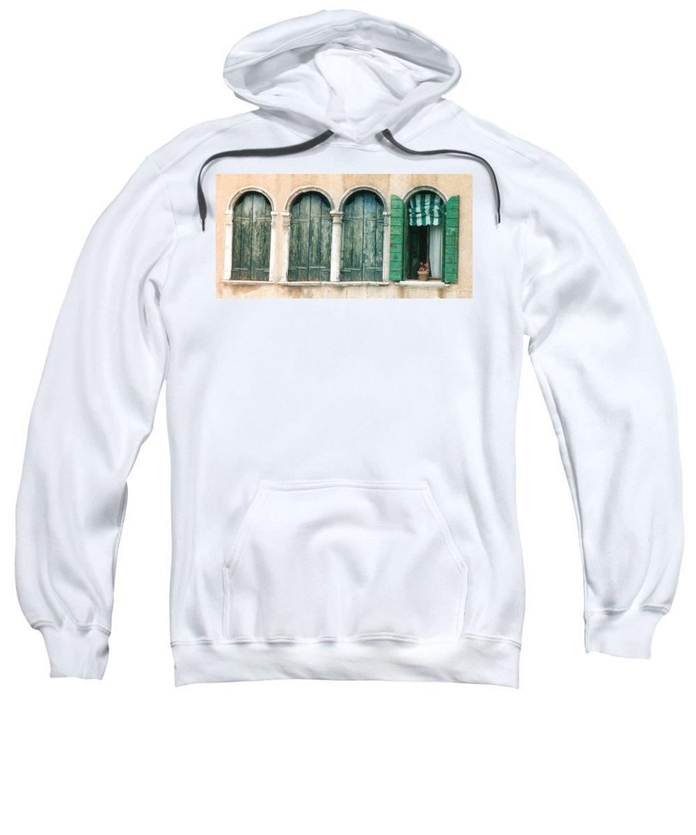 Venice Sweatshirt featuring the photograph Venice Window Flower Pot by Lauri Novak