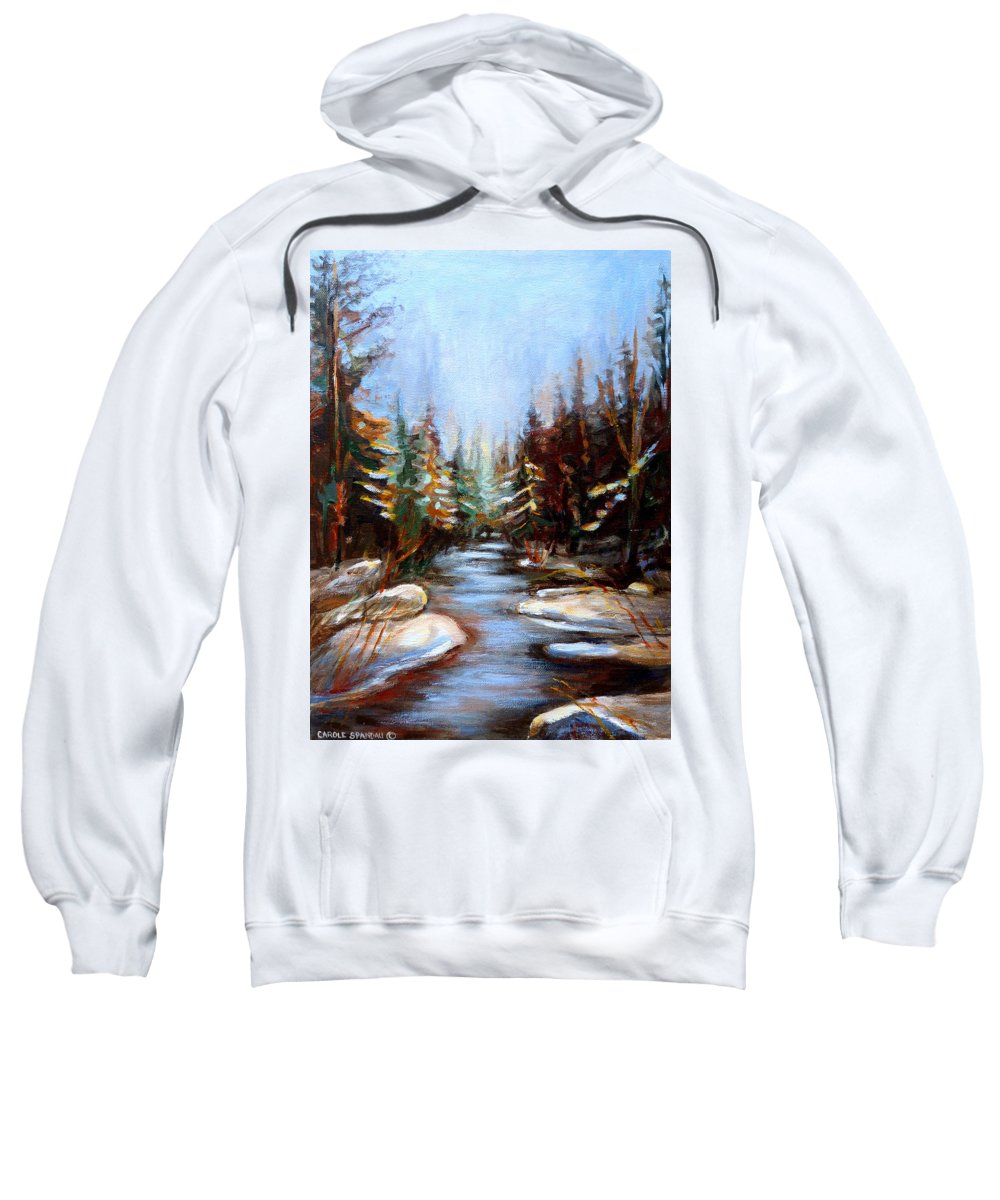 Vermont Sweatshirt featuring the painting Vermont Stream by Carole Spandau