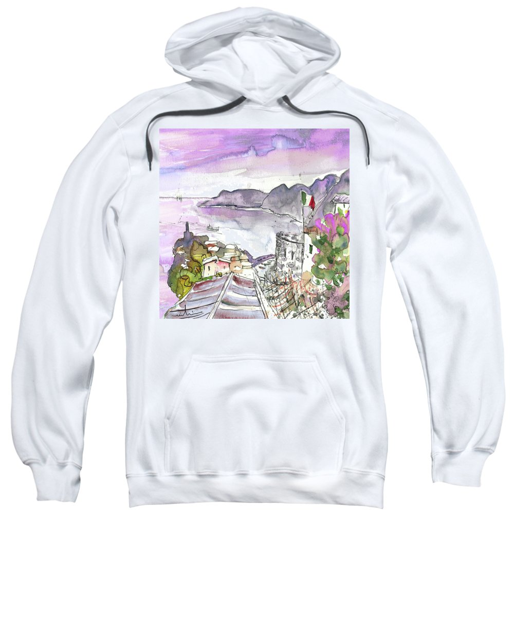 Italy Sweatshirt featuring the painting Vernazza In Italy 03 by Miki De Goodaboom