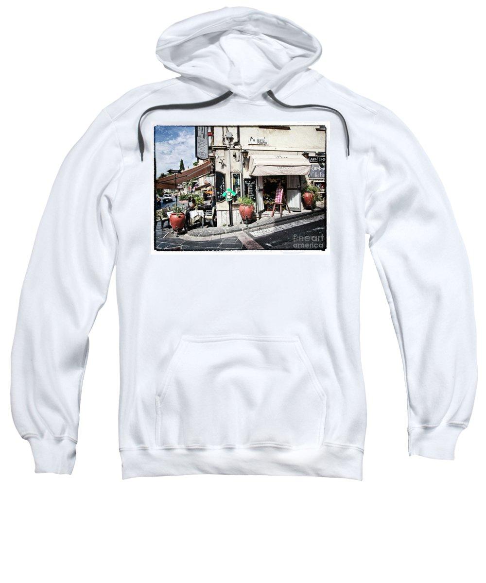 Restaurant Sweatshirt featuring the photograph Via P. M. Sesto Pompeo by Madeline Ellis