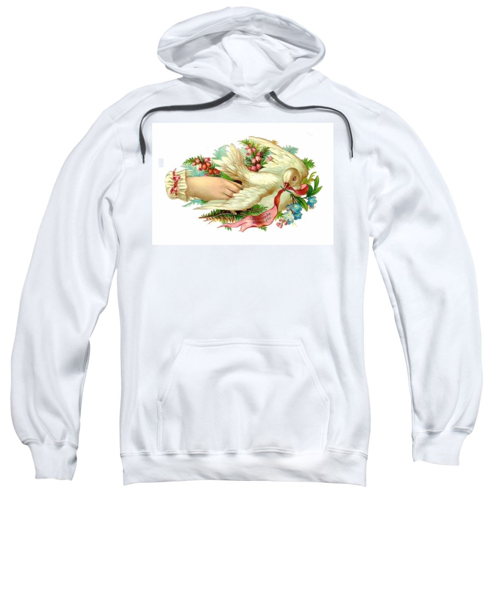 Dove Sweatshirt featuring the digital art Victorian Dove by Marianne Dow